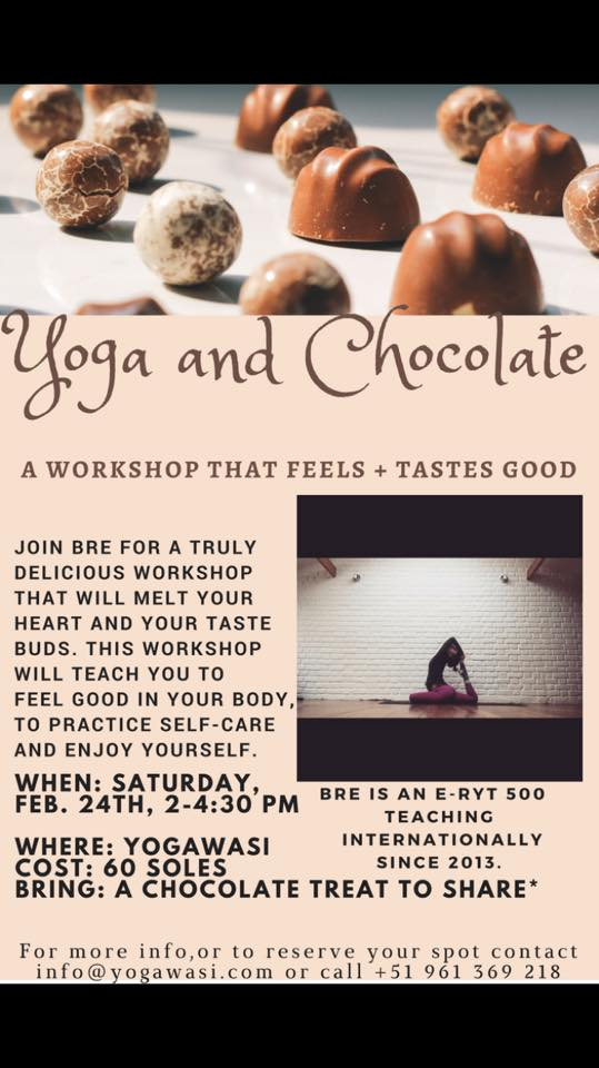 Yoga and Chocolate Workshop Yogawasi Yoga cusco peru