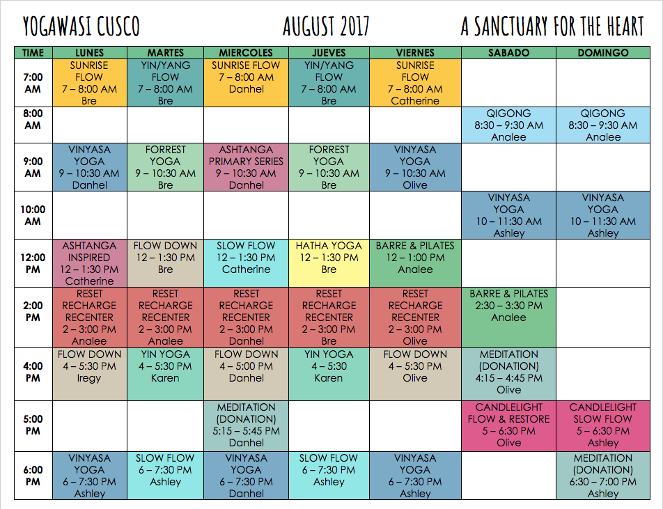 Schedule for August 14-20
